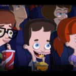Andrew Nick e Jessy di Big Mouth Netflix guardano un film