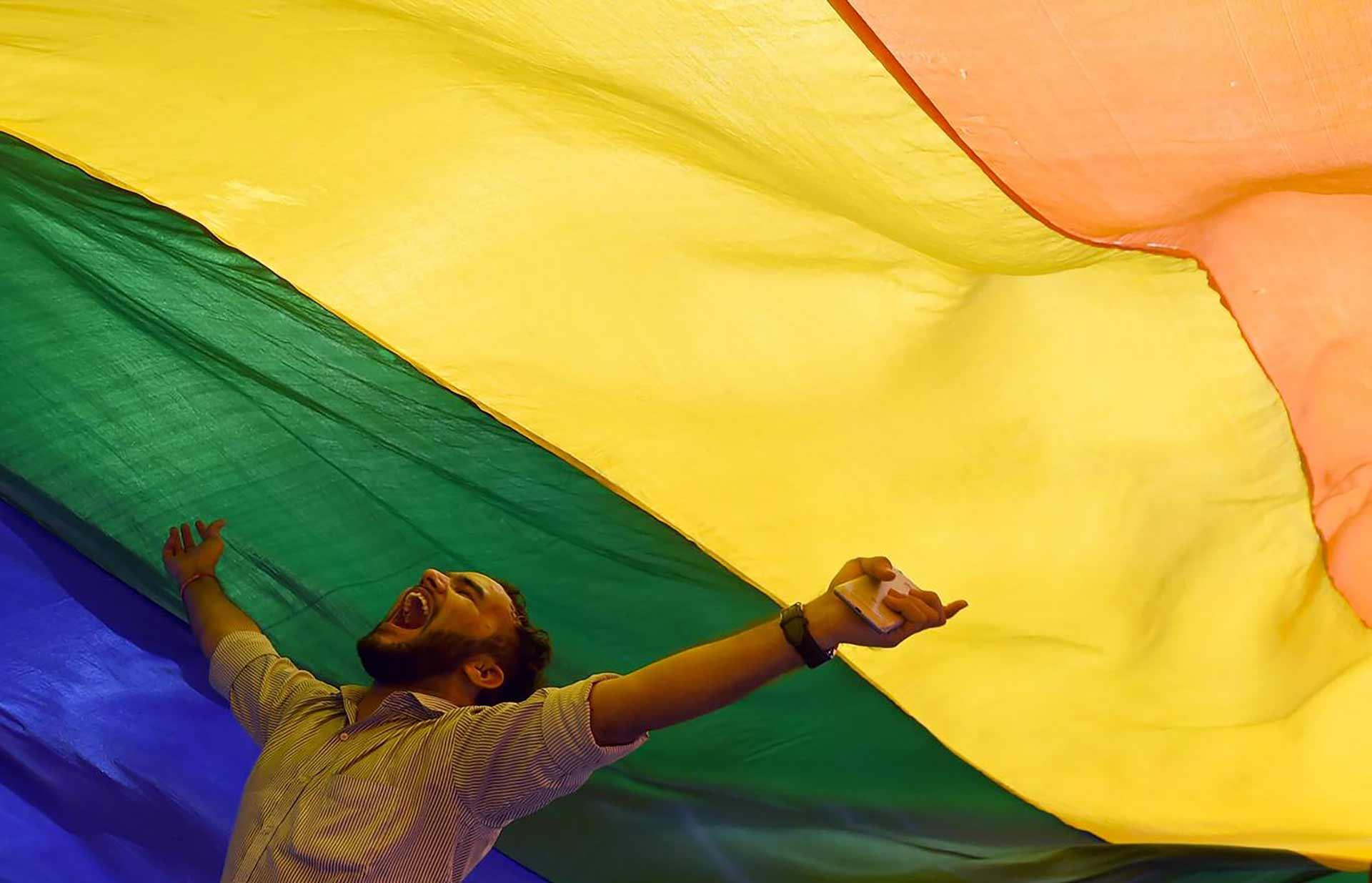 ragazzo festeggia sotto bandiera tricolore in india dove l'omosessualità non è più un reato