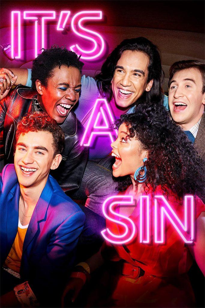 It's a sin poster serie con scritta al neon
