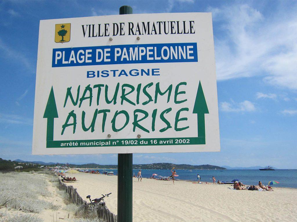 cartello spiaggia naturista pampelonne